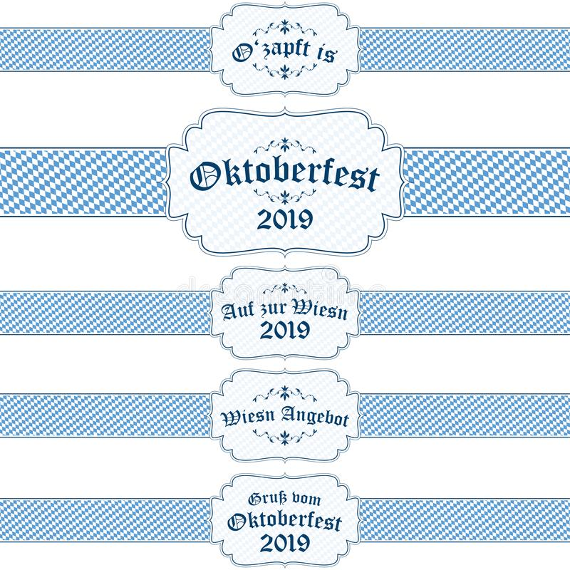 Oktoberfest 2019 banners with text stock illustration