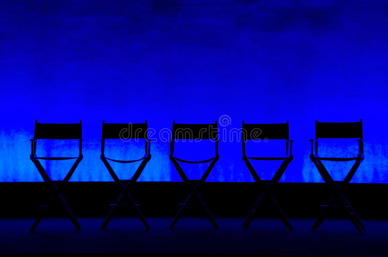 Download Five Directoru0027s Chairs Silhouette On Blue Stage Stock Image    Image Of Canvas, Chair
