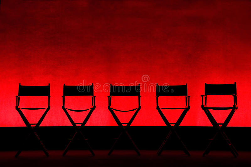 Download Five Director's Chairs Silhouette On Red Stage Stock Photo - Image: 16972282