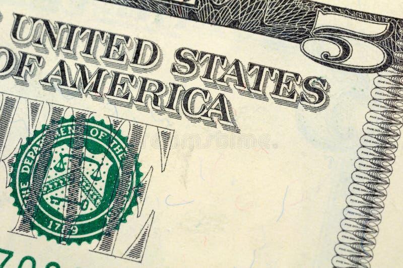 Download Five dollar bill closeup stock image. Image of american - 6570199
