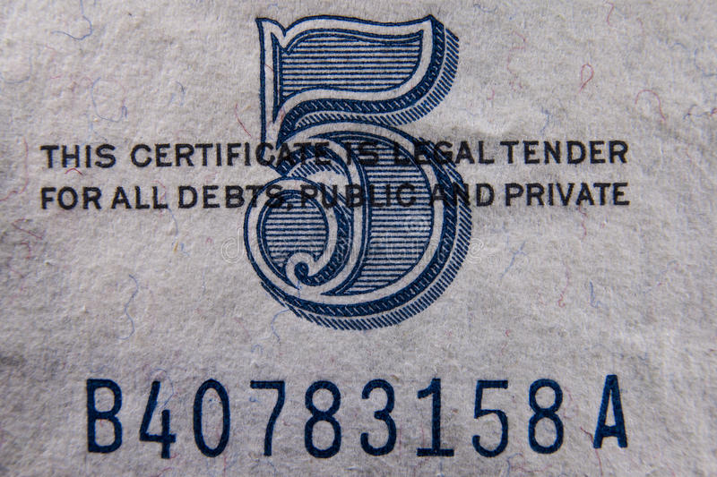 Download Five Dollar Bill Detail stock photo. Image of certificate - 32097450