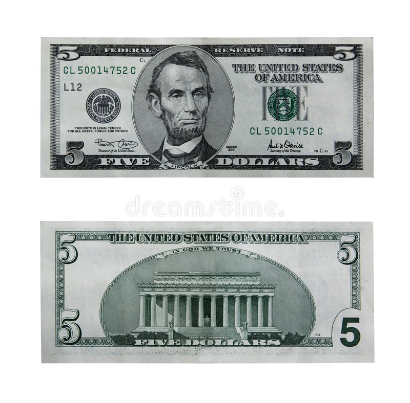 Five dollar bill with path stock image