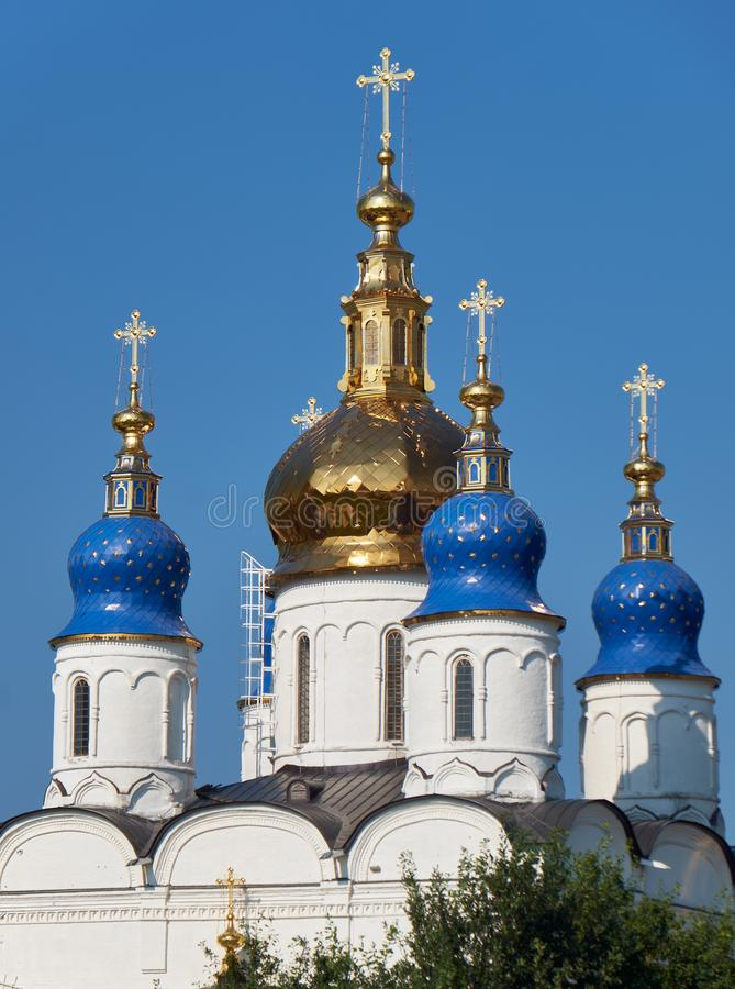 The five-domes of St Sophia-Assumption Cathedral. Tobolsk Kremlin. Tobolsk. Russia stock photos