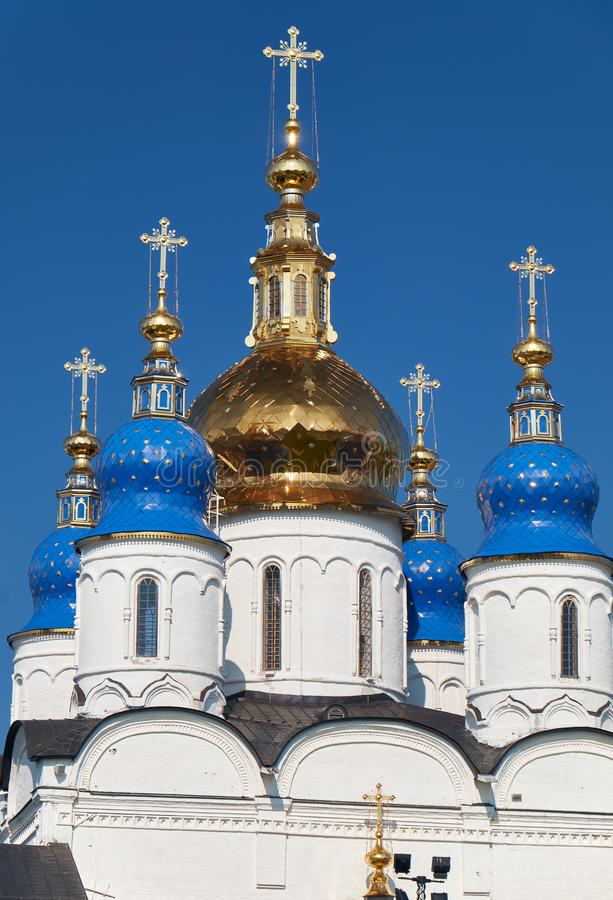 The five-domes of St Sophia-Assumption Cathedral. Tobolsk Kremlin. Tobolsk. Russia stock image