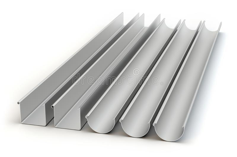 Five drainage gutters, 3D illustration royalty free stock images