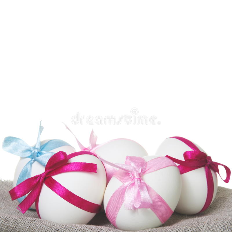 Five Easter Eggs with Bows stock photography