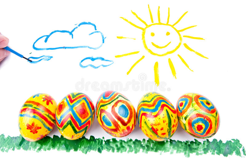 Five easter eggs on grass, sun in sky royalty free illustration