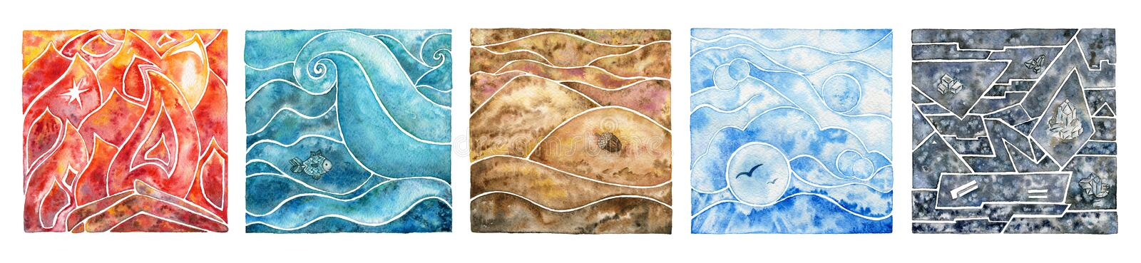 Five elements: fire, water, air, earth and metal. Oriental set. stock illustration