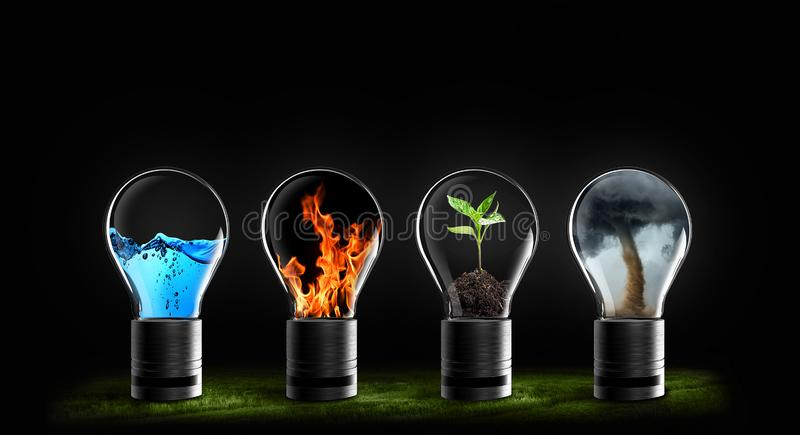 Five elements of nature air water fire earth space. Creation of natures force royalty free stock photography