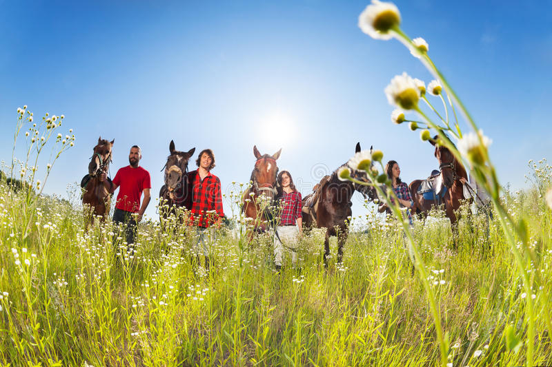 Five equestrians with horses in blossoming meadow. Group of five equestrians with horses, standing in a row in the blossoming meadow in summer stock images