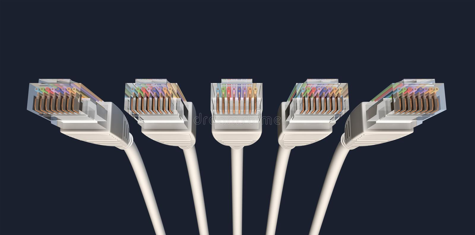 Download Five Ethernet Cables Unplugged Facing Forwards Stock Illustration - Image: 25044289
