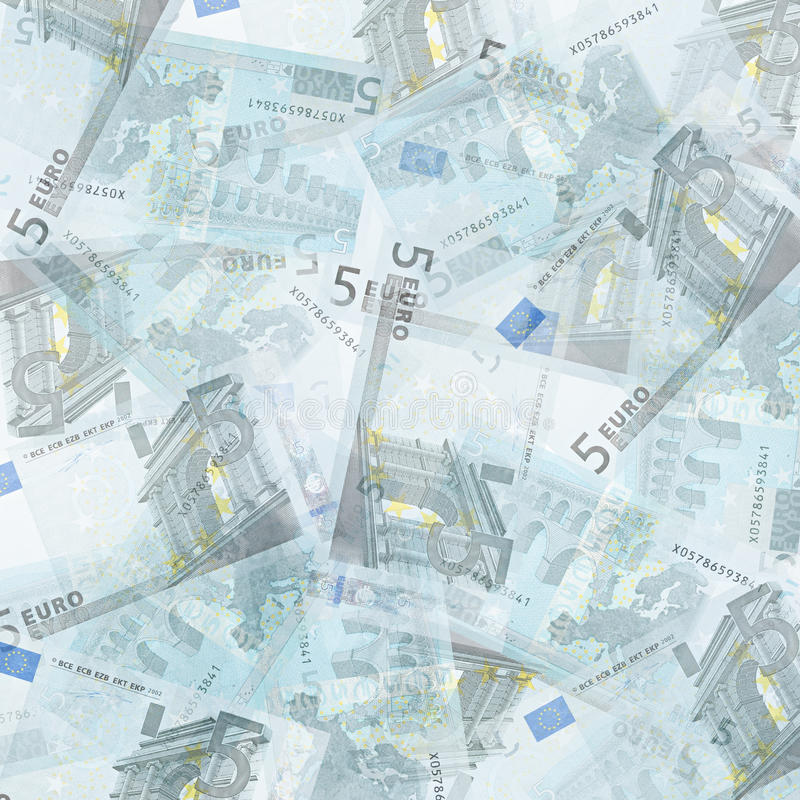 Five euro background. Abstract money background from translucent five euro royalty free stock photography