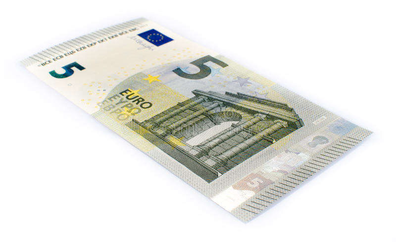 Five euro banknote. Isolated on white royalty free stock photo