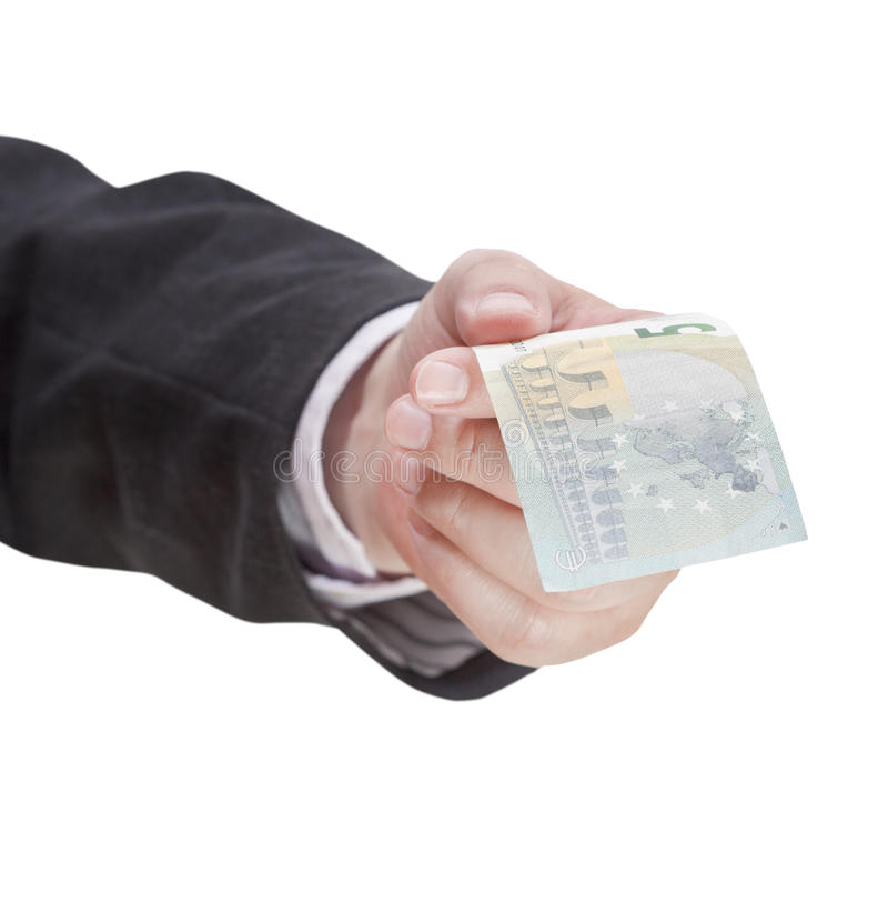 Five euro banknote in male hand. Isolated on white background royalty free stock photos