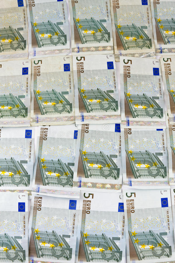 Five Euro notes stock photography