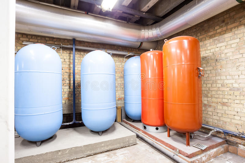 Five expansion boilers. In the basement there are five major expansion boilers royalty free stock photos