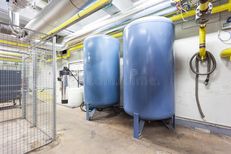 Five expansion boilers. In the basement there are five major expansion boilers royalty free stock photography