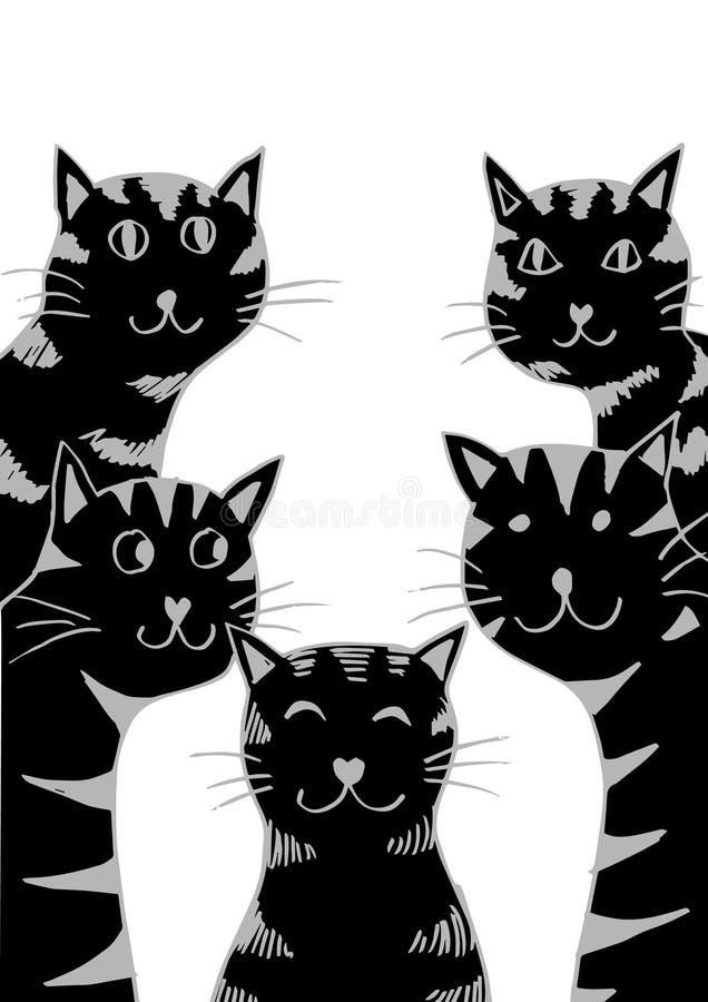 Five Fat Cartoon Cats. Hand drawing illustration royalty free illustration
