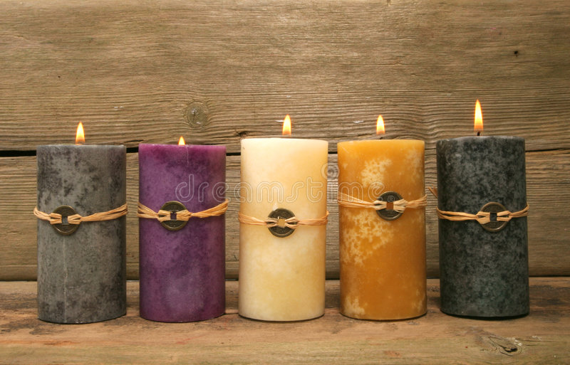 Download Five feng Shui candles stock photo. Image of five, rustic - 4843392