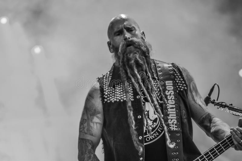 Five Finger Death Punch, Chris Kael live in concert 2017, heavy metal royalty free stock image