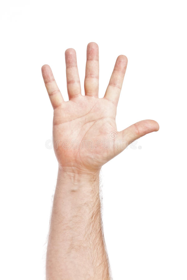 Five fingers. An image of five fingers up high stock image