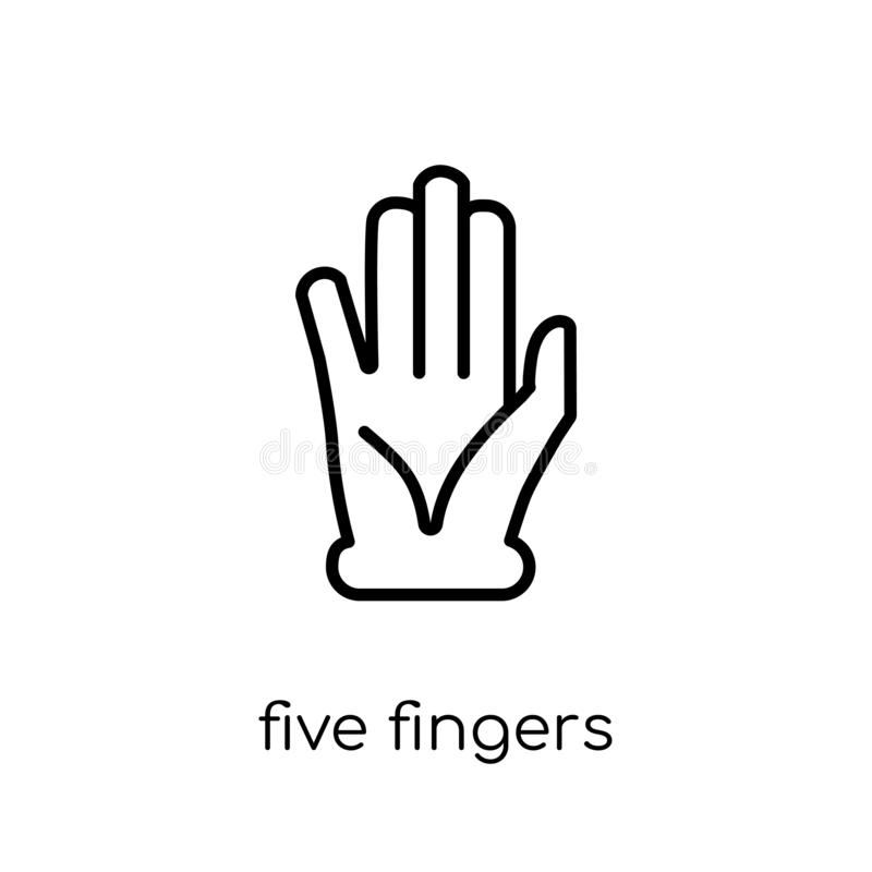Five Fingers icon. Trendy modern flat linear vector Five Fingers stock illustration