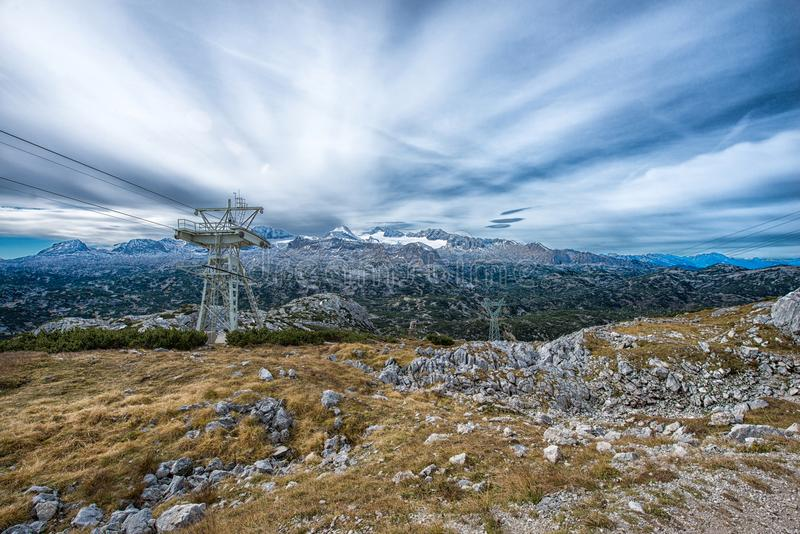 peak view to the spectacular Dachstein glacier in the Alps, Austria, royalty free stock photos