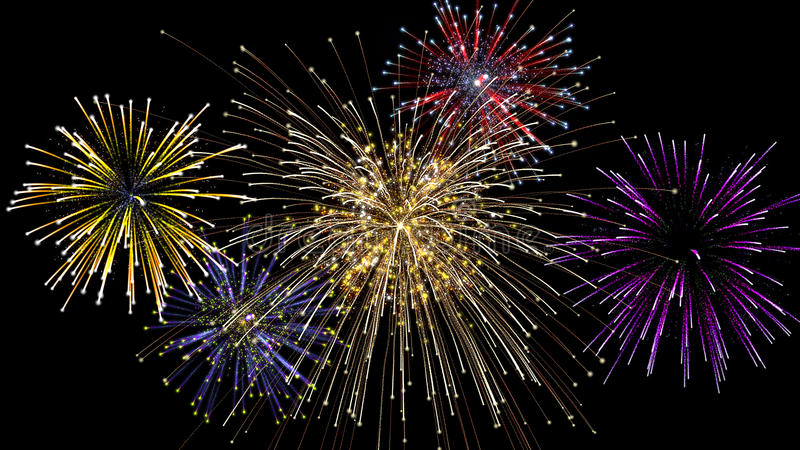 Five fireworks explosion at night stock images