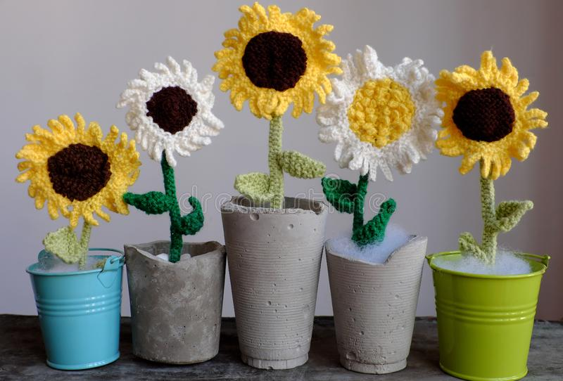 Five flower vase on table, knit white and yellow sunflower from yarn. Amazing five flower vase on table make from craftsmanship by knit art from yarn, white and stock photography