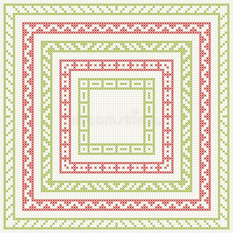 Five frames for Christmas cross-stitch embroidery vector illustration