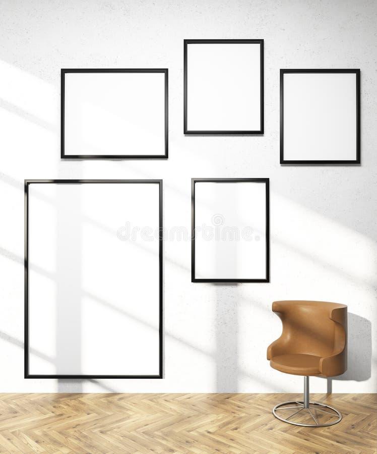 Five frames on wall stock illustration. Illustration of mock - 69251847
