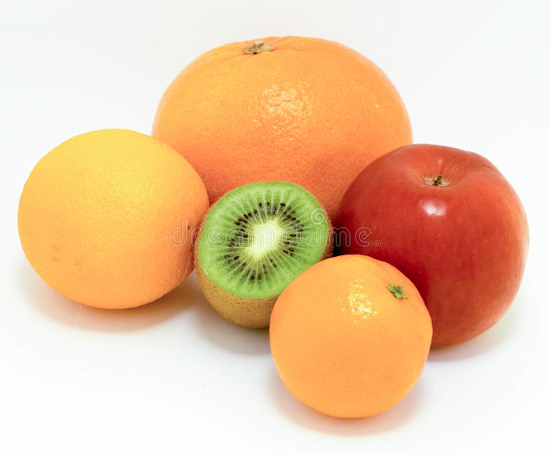Five fruits liked by all stock photography