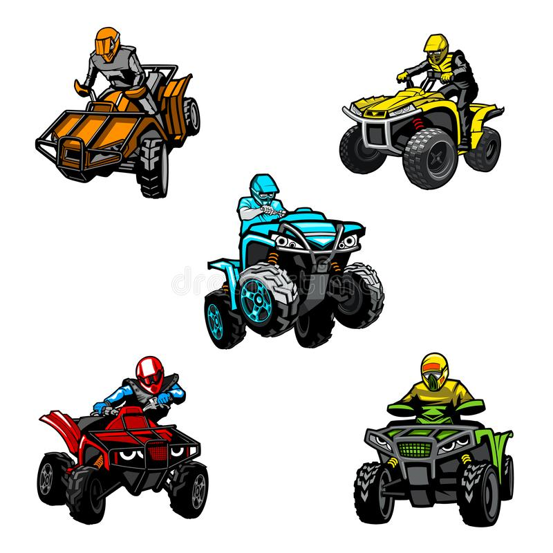 Five full-color quad bikes from different angles, isolated background.  royalty free illustration