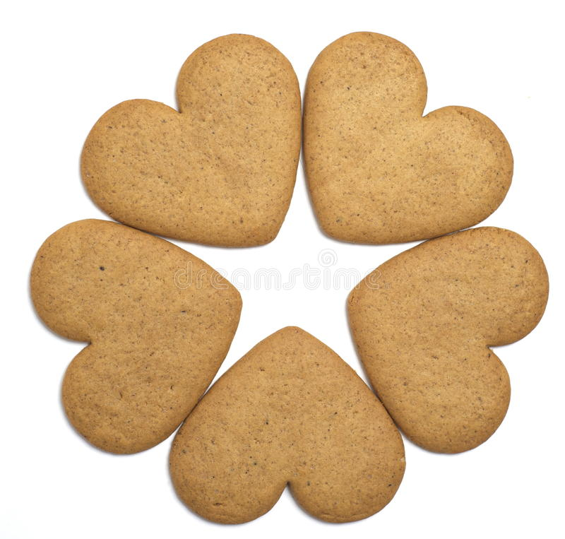 Five gingerbread cookies negative space star