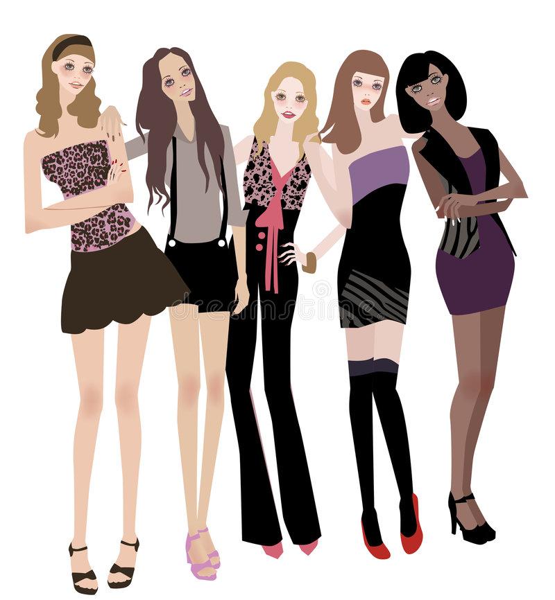 Five Girls Stock Photography