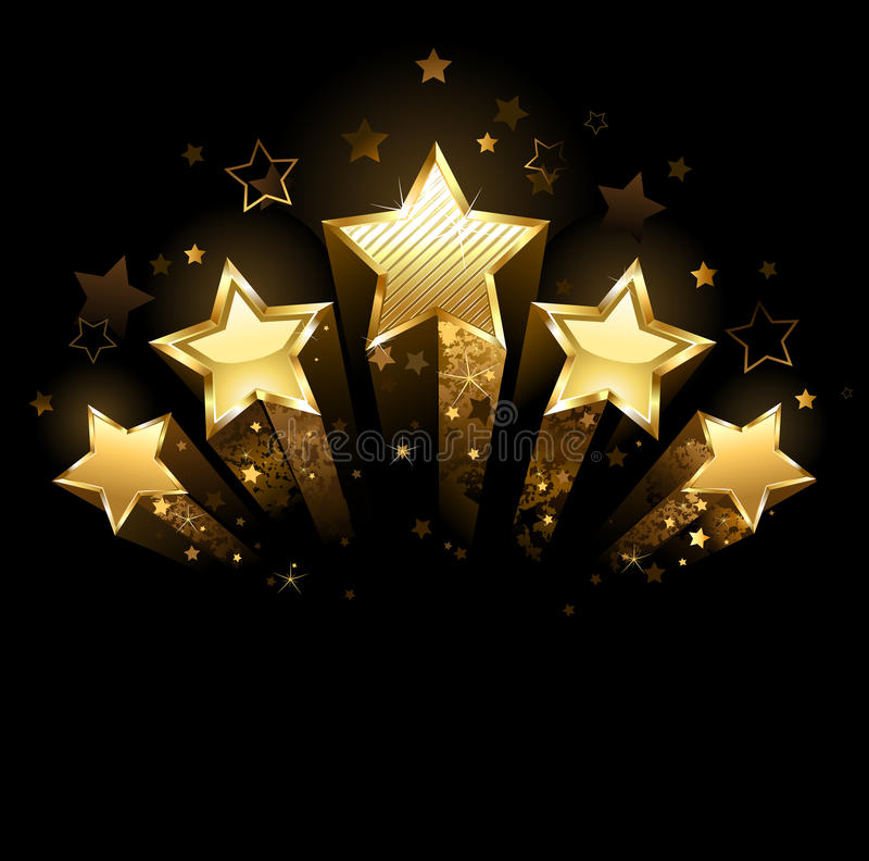 Five gold stars stock images