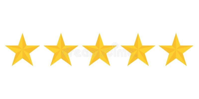 Five golden stars rating showing best quality stock illustration