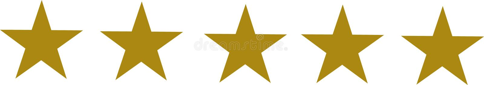 Five golden stars set royalty free stock image