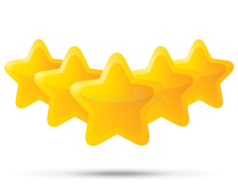 Five golden stars. Star icons on white background. Five-pointed shiny star for rating. Rounded corners. Eps 10 stock illustration