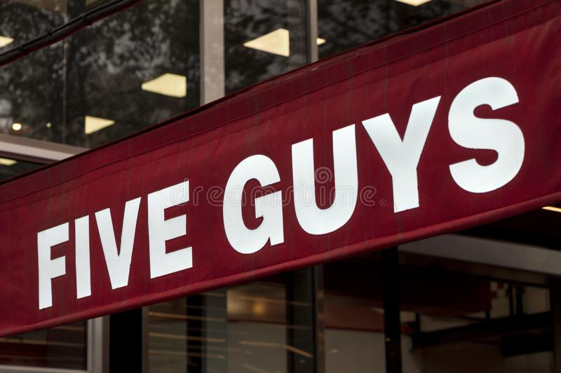 Five Guys logo on Five Guys restaurant royalty free stock images