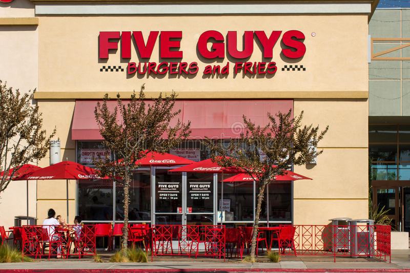 Five Guys Restaurant Exterior royalty free stock image