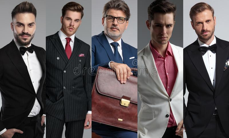 Five handsome men`s portraits in a collage photo royalty free stock images