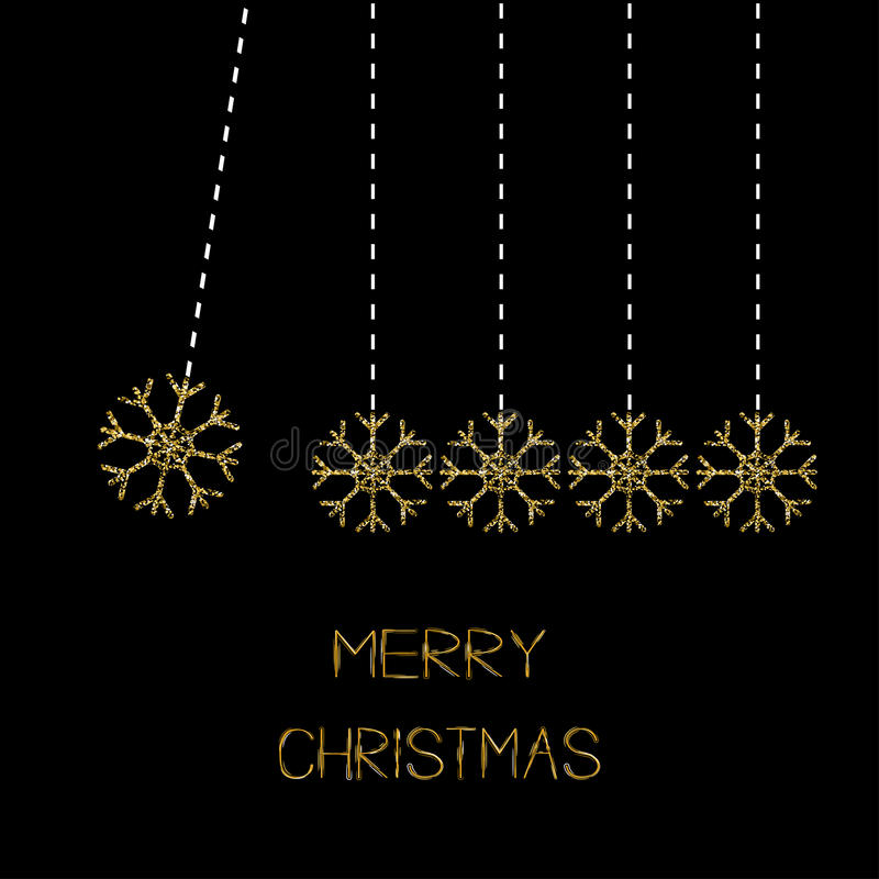 Five hanging snowflakes. Dash line. Gold glitter. Perpetual motion. Merry Christmas. Black background. Vector illustration stock illustration