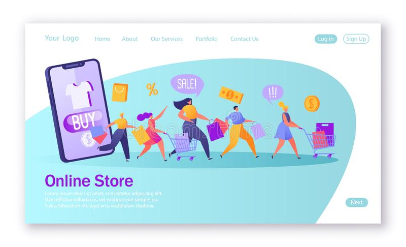 Five happy, flat people characters running with shopping bags and trucks. vector illustration