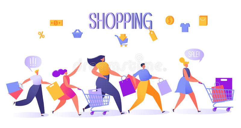 Five happy, flat people characters running with shopping bags and trucks. Vector illustration shopping theme, sale concept, retail consumerism. Flat design stock illustration