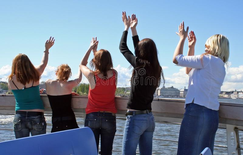 Five happy girls royalty free stock image