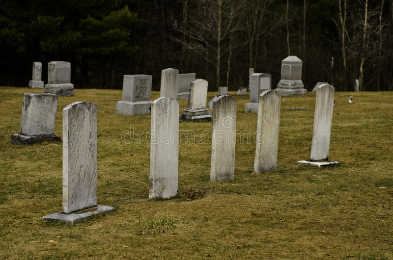 Five headstones stock image