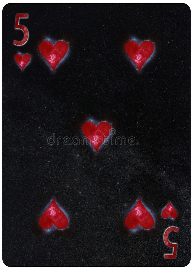 Five of Hearts playing card Abstract Background stock illustration