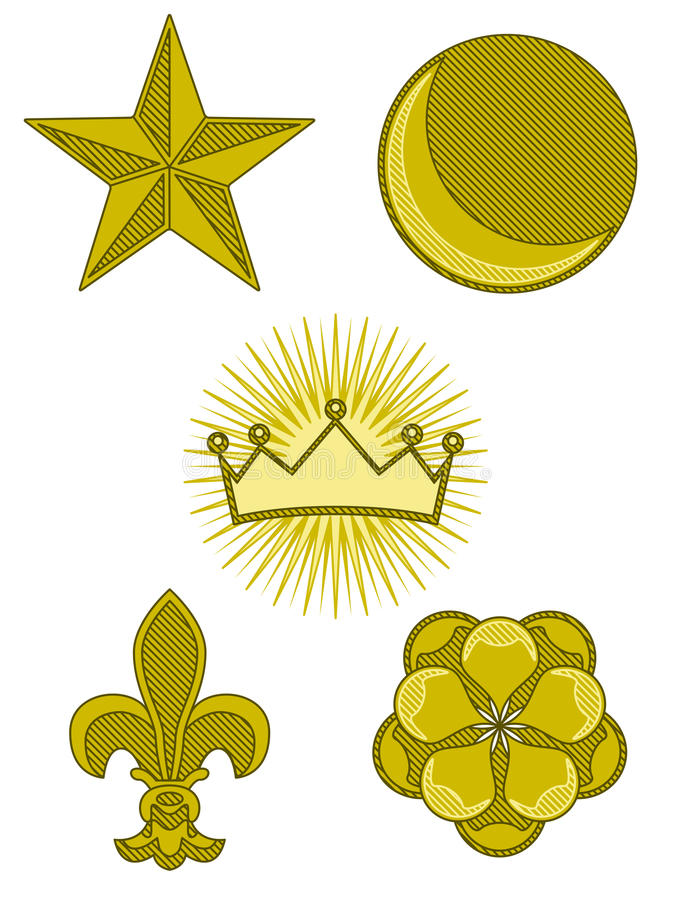 Five Heraldry Symbols Stock Photography