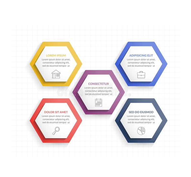 Five Hexagons. Infographic template with five hexagons with line icons, process chart stock illustration